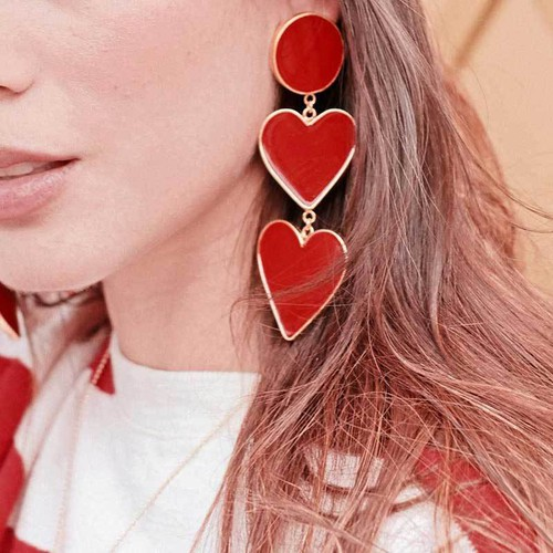 2 Red Heart Earrings - orangeshine.com