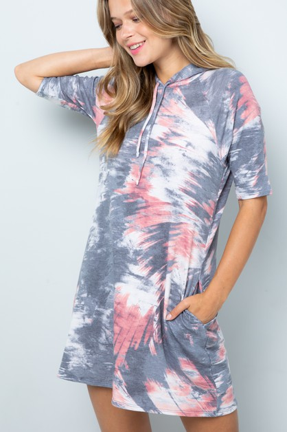 TIE DYE HALF SLEEVE MINI DRESS  - orangeshine.com