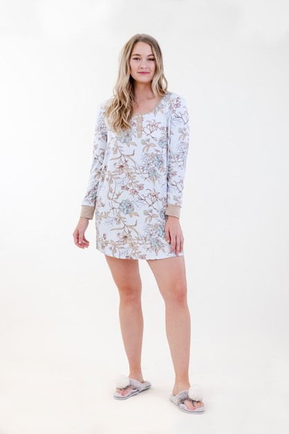 Floral Henley Dress - orangeshine.com