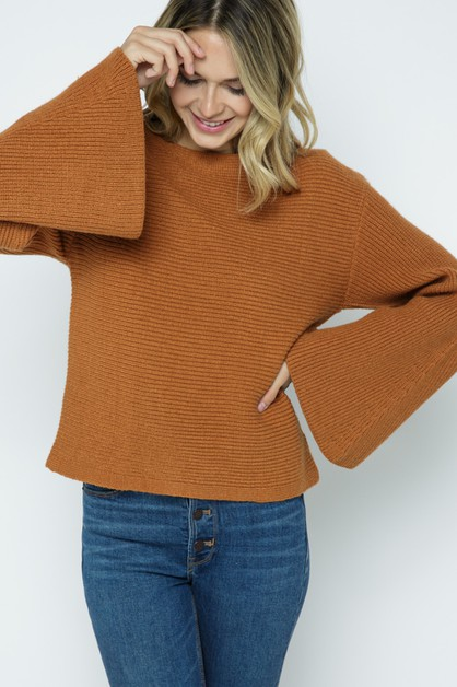 Horizontal Ribbed Pullover w/ Bell S - orangeshine.com
