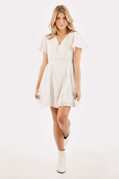 SHORT SLEEVE V-NECK MINI DRESS  - orangeshine.com