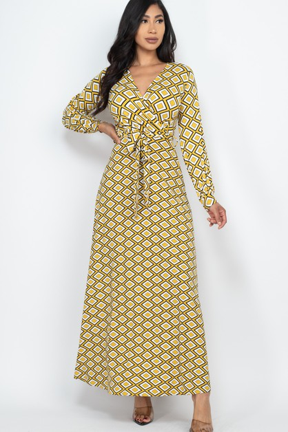 Surplice Printed Maxi Dress - orangeshine.com