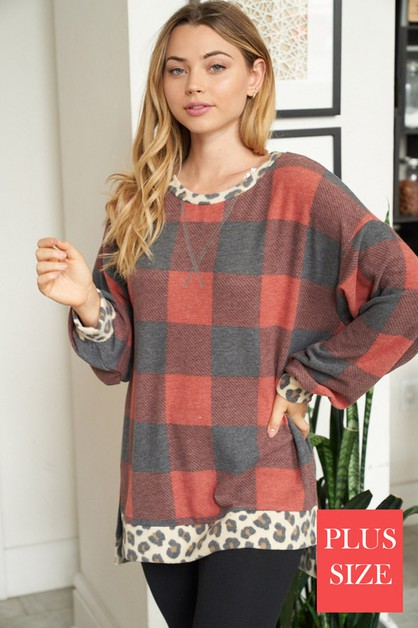 Long Sleeve Buffalo Plaid Pullover - orangeshine.com
