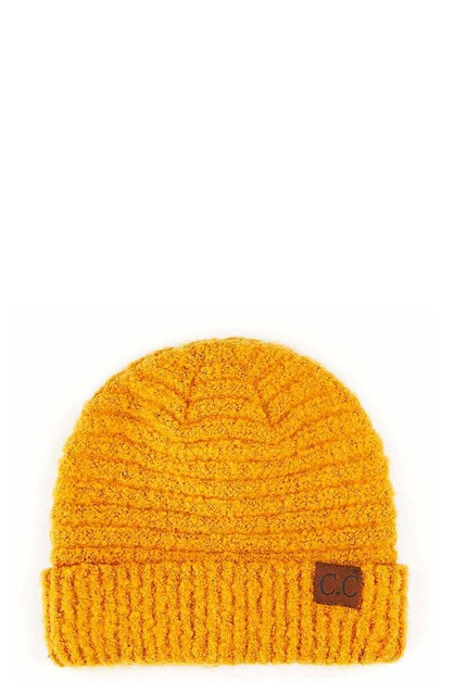 CC SOLID BOUCLE YARN HAT WITH CUFF - orangeshine.com