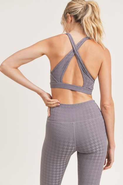 Textured Houndstooth TACTEL Sports Bra - orangeshine.com