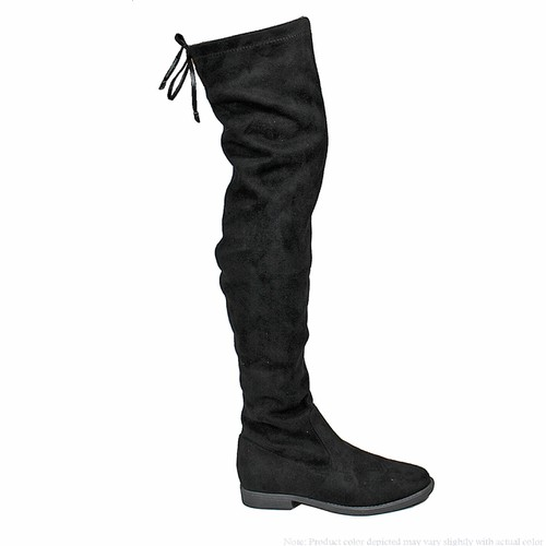 FLAT LACE UP OVER KNEE BOOTS - orangeshine.com
