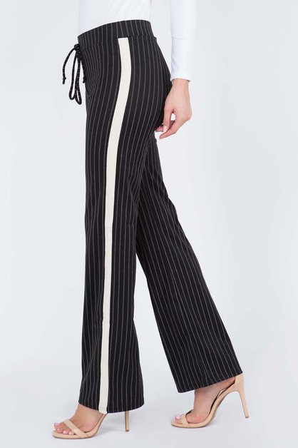 Striped Wide Leg Ponte Pants - orangeshine.com