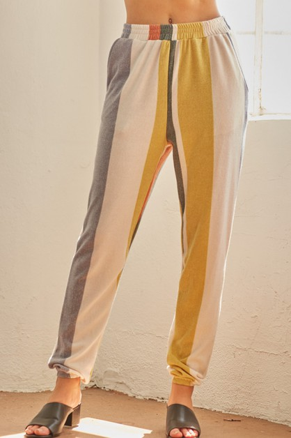 Stripes Hacci Jogger Pants - orangeshine.com