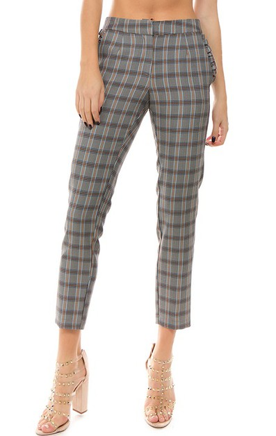 PLAID SLIM-FIT RUFFLE POKET PANTS  - orangeshine.com