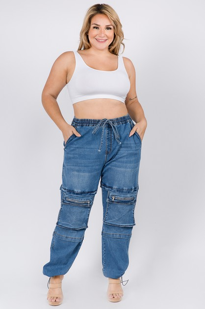 HIGH WAIST DENIM JOGGERS UTILITY PKT - orangeshine.com