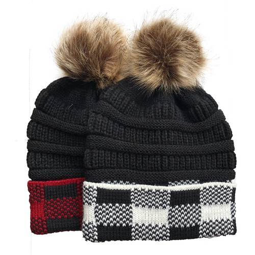 Buffalo plaid knit beanies - orangeshine.com