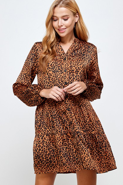Leopard Print Tiered Dress - orangeshine.com