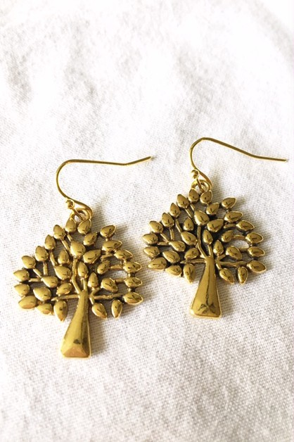 Gold plate tree earrings - orangeshine.com