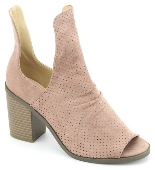 Cut Out Stacked Low Heel Bootie - orangeshine.com
