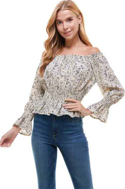 Off Shoulder Ruffle Blouse - orangeshine.com