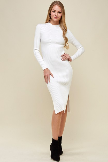 MOCK NECK MIDI SWEATER DRESS IMMODEL - orangeshine.com