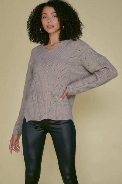 TEXTURED V NECK FULL SLEEVE SWEATER - orangeshine.com