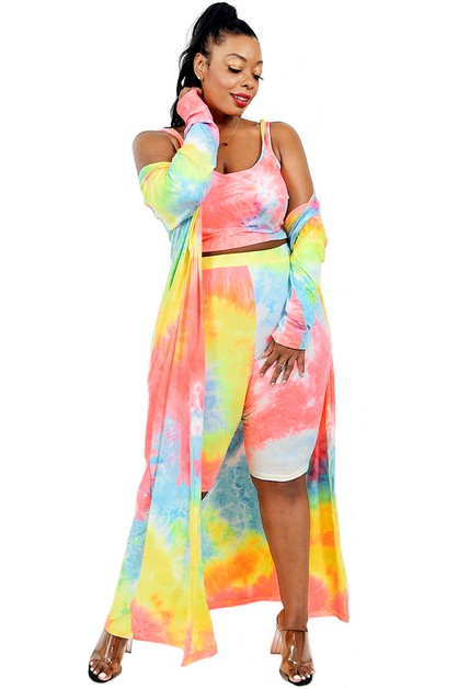 PLUS NEON COLOR TIE-DYE 3 PIECE SET - orangeshine.com