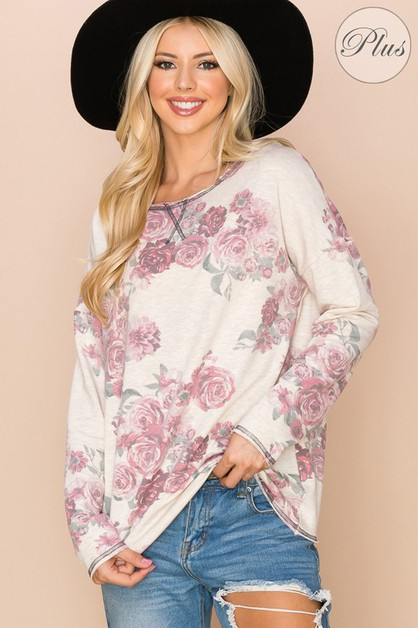 Flower Print Scoop Round Neck Top - orangeshine.com