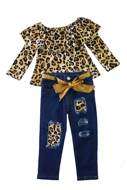 Leopard denim set - orangeshine.com