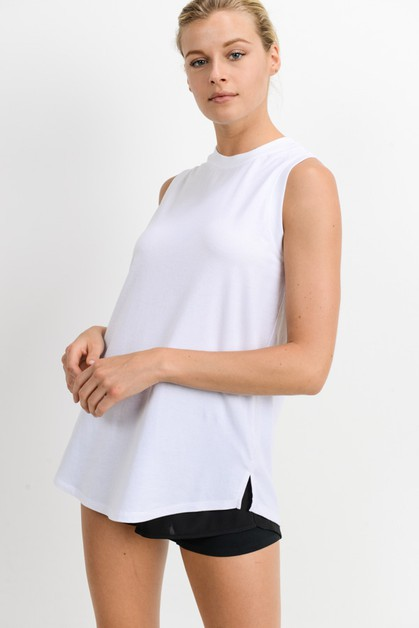 Notched Sleeveless Flowy Tank Top - orangeshine.com