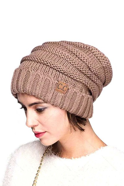 OVER SIZED SLOUCHY RIBBED BEANIE HAT - orangeshine.com