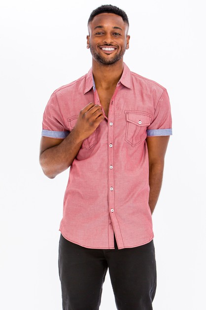 Casual Short Sleeve Two Tone Shirts - orangeshine.com