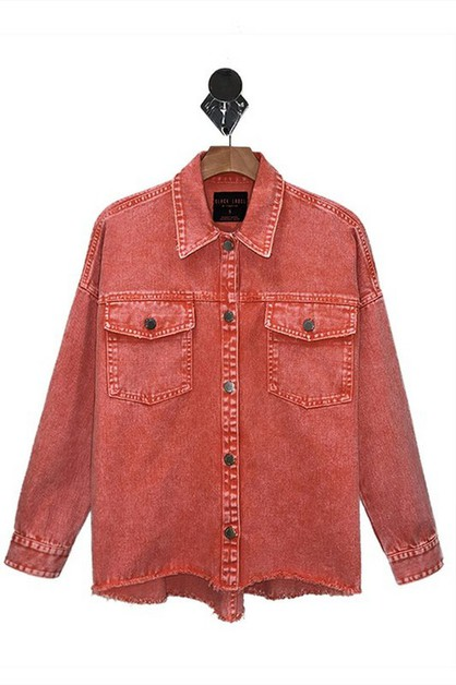 COLOR DENIM ACID WASH JACKET - orangeshine.com