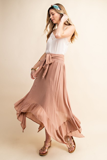 SIDE TIED BOTTOM RUFFLE LINED MIDI S - orangeshine.com