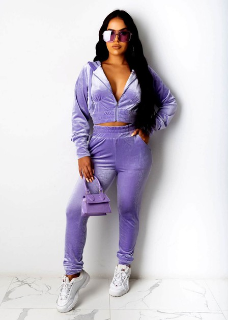 FASHION VELVET CASUAL HOODIE SETS  - orangeshine.com