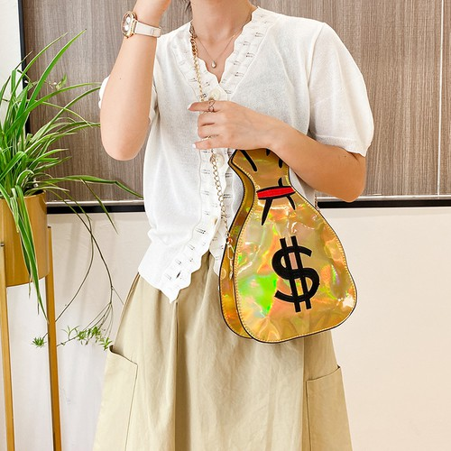 PU dollar sign  embroidered clutch - orangeshine.com