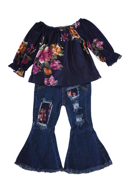 Navy floral denim bell pants set - orangeshine.com