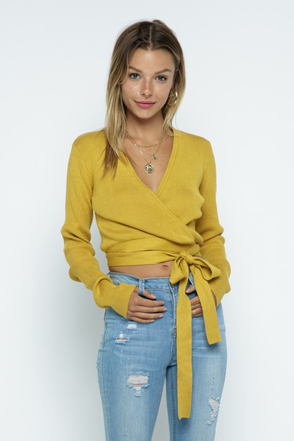 Knit Crop Top With Wrap Strap - orangeshine.com