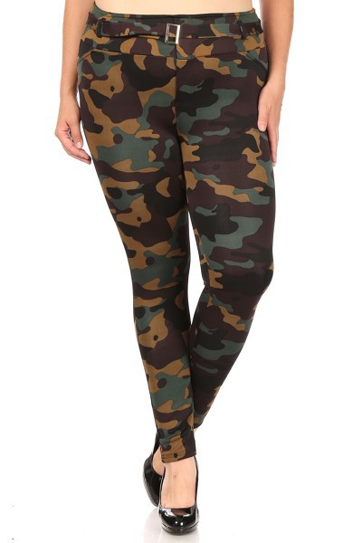 Plus Size Camo Army Skinny Pants - orangeshine.com