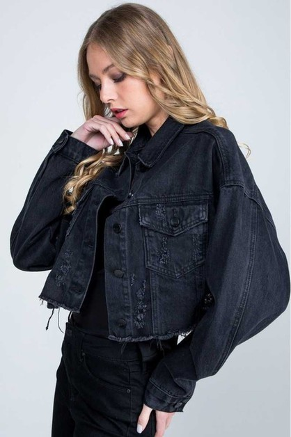 OVERSIZE CROP BLACK JACKET - orangeshine.com