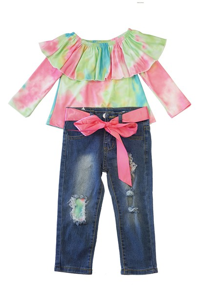 Tie dye ruffele denim set - orangeshine.com