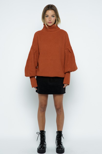 High Neckline Balloon Sweater - orangeshine.com