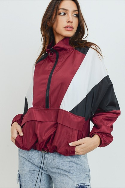 Color-block windbreaker jacket - orangeshine.com