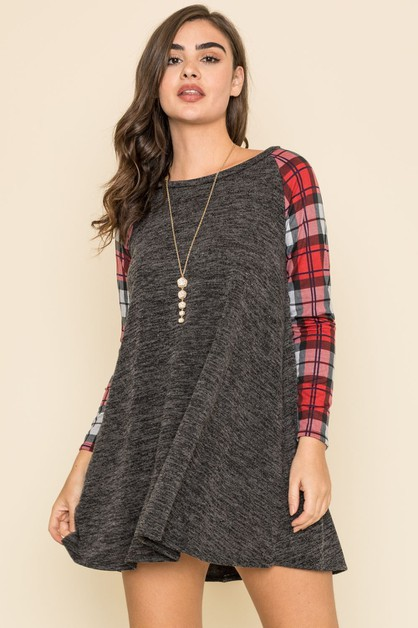 Plaid Sleeve A Line Tunic - orangeshine.com