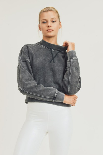 Mineral-Washed Fleece Cropped Pullover - orangeshine.com