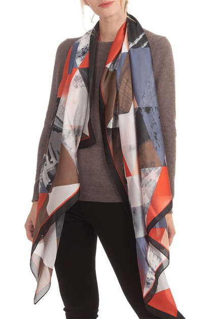 ABSTRACT PATTERN SHEER SILKY SCARF - orangeshine.com