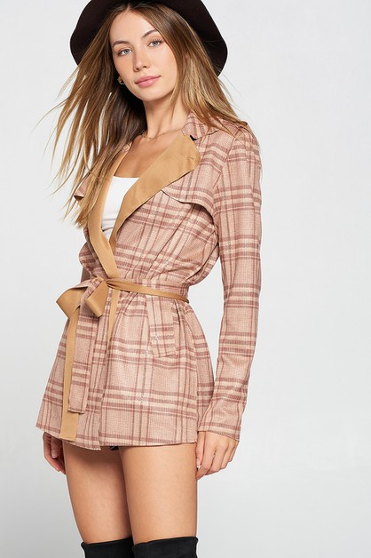 PLAID SHORT TIE AROUND WAIST COAT - orangeshine.com