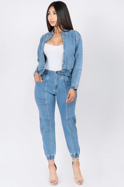 HIGH WAIST BANDED DENIM JOGGERS - orangeshine.com