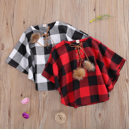 Girls buffalo plaid cape - orangeshine.com