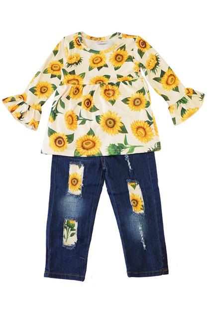 Sunflower denim set - orangeshine.com