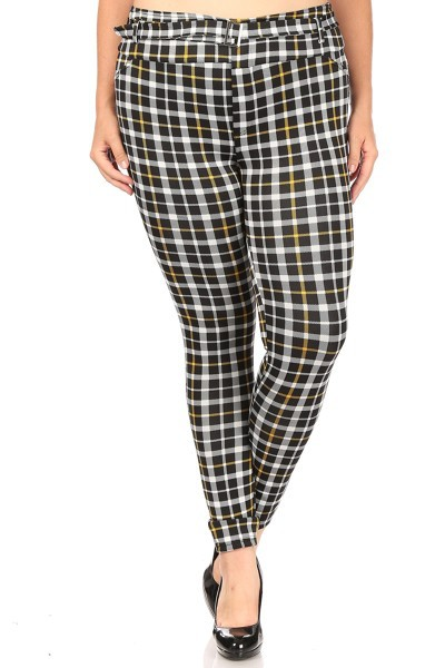 Plus Size Plaid Slim pants Treggings - orangeshine.com