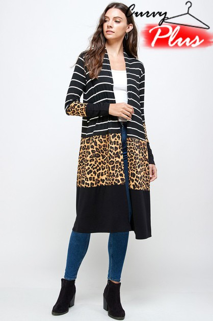 LEOPARD PRINT COLOR BLOCK CARDIGAN - orangeshine.com