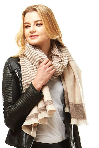 STYLISH STRIPED BOUCLE OBLONG SCARF - orangeshine.com