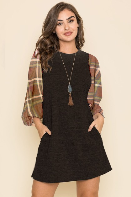 Plaid Balloon Sleeve Dress - orangeshine.com
