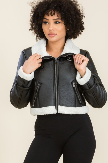 Faux Leather Cropped Shearing Jacket - orangeshine.com